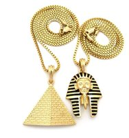 Black Striped Neme Pharaoh Head & Triangle Pyramid Pendant double Chains Solid amulet