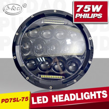 atv 4x4 accessory 7inch 75w car led headlight Hi/low off road led auto headlight