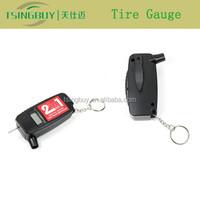 Best 2 in 1 high precision LCD digital tire gauge keychain with tire tread depth gauge