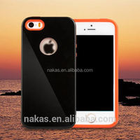 high quality 2 in 1 pc and tpu silicone phone case auto sleep/wake smart case for iphone 6 for iphone 5