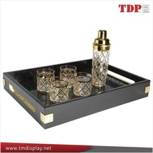Wholesales Acrylic Plastic Serving Trays with Handles/Acrylic Shot Glass Trays for Hotel and Restaurant