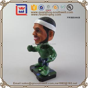 손으로 그린 보블 헤드 플레이어 장난감 입상 스포츠 기념품 사용자 정의 스포츠 버블 헤드 인형