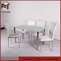 cheap PU & metal K/D structure dining room furniture