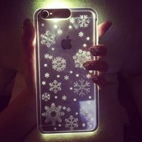 """Transparent night sparkle Called Sense LED Flash Light Case For iPhone 6 4.7""""1mm Ultra Thin Back Cover"""