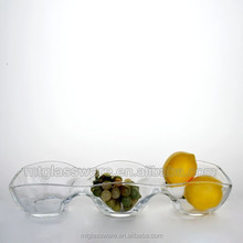 Glass Server Tray with 3 divider for party or restaurant