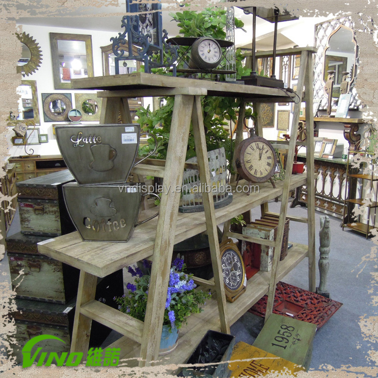 2015 hot selling shabby chic wooden 3 layers flower ladder for Scaletta decorativa