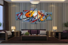 Group musical instrument oil painting for living room on canvas