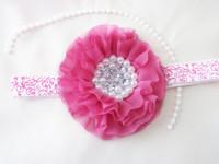 8cm Chiffon Flowers with pearl&rhinestone- Fabric Flowers- Chiffon Flowers-Perfect for Baby headwear