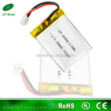 handheld instruments 3.7v 550mAh rechargeable lithium ion polymer battery