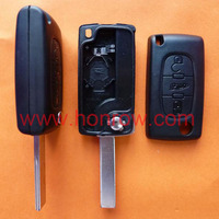 Peugeot 407 blade 3 button flip remote key shell with trunk button ( HU83 Blade - Trunk - With battery place )