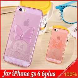 2015 New Lovely Mickey Minnie Mouse Stitch Clear JELLY TPU Gel Soft Cover Case For APPLE iPhone 5 5s 6 6plus