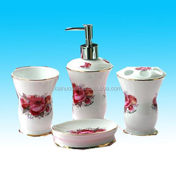 hot sale native christmas 4pcs ceramic bathroom set