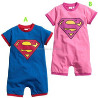 C511 summer hot style baby cotton superman flat angle romper baby boys and girl cute cothes wholesale