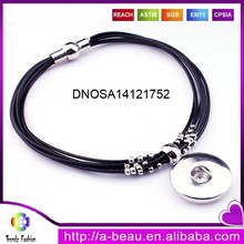 Cheap Black Multilayer Leather Rope Bracelet With Snap Button Charm DNOSA14121752