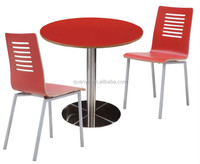 modern small wooden round dining table set with metal base