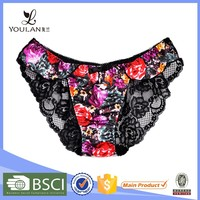 Fantasy OEM service flower printing japanese sexy transparent panty for women