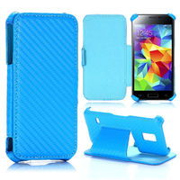 Carbon Fiber Pattern Flip Stand Leather for Samsung Galaxy S5 Mini Case