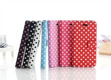 2015 Newest custom design Polka Dot pattern leather case for iphone5/5s