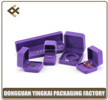 Alibaba high quality purple velvet custom plastic jewelry packing box