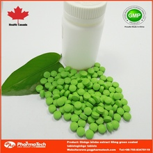 OEM Private label Ginkgo biloba extract 60mg tablets green coated
