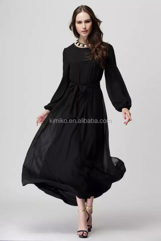 Fashion dubai abaya wholesale islamic chiffon belt long dress modern