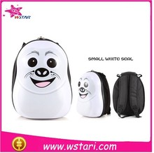 16 inch eggshell abs+pc cute kids trolley school bags small white seal for girls