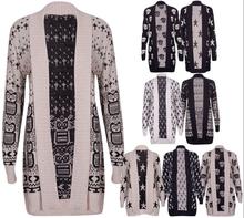 Womens Printed Ladies Long Sleeve Open Knitted Cardigan Top