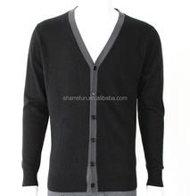SF15-0607 2015 New Men's 100% pure cashmere V-neck cardigan sweater