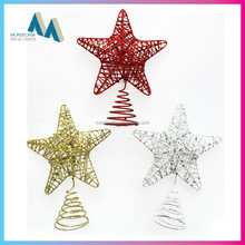 Promotional handwork glitter star shaped christmas ornaments