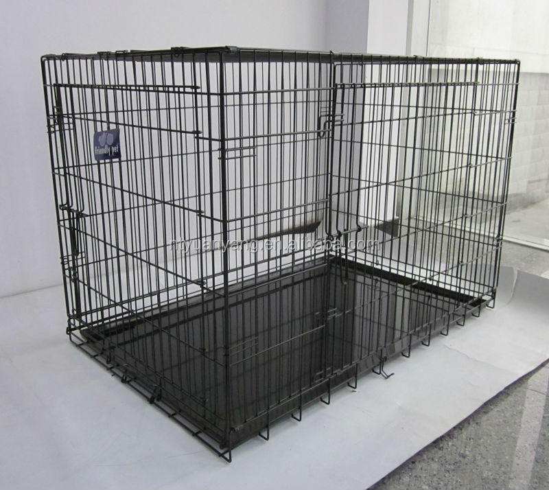 high quality zinc plated for flamingo two doors foldable iron dog cages