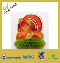 Hot Sale Honeycomb Centerpiece With Turkey Image For Harvest Festival Party /Tissue Paper Decoration