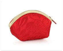 Red Rayon Zipper Woman Lipstick Wallet Case