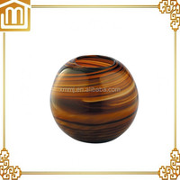 Customized Hand made blown art docoration round brown wholesale glass vase