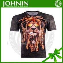 2015 wholesale 3D Fashion Lion Print Pattern t shirt with never fade out clothes printing(OEM)