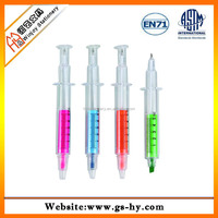 Pormotional syringe shape ball pen with highlighter