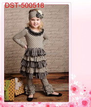 2015New Fashion Children's Clothes Set Polka Dots Long Dress And Ruffle Girls Pant Clothing Set For Fall Baby Girls Clothes Set