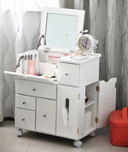 Home furniture wood bathroom ued cheap white movable multi drawers floding mirror cabinet dressing table with wheels
