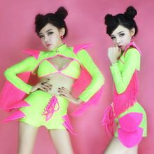 modern dance dress girl ds costumes lead dancer clothing costumes sexy fluorescent color bikini suit
