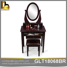 Elegant dressing table with oval shape mirror and drawer