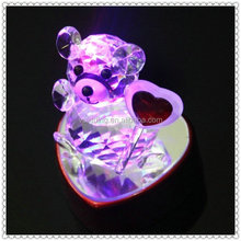 Diamond LED Lovely Crystal Bear With Base For Table Decoration