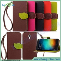 Leaf Shape Leather Flip Cover for Xiaomi mi4 m4 Case with Strap and Card Slot