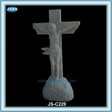 personalizado estatua de mármol blanco de jesús con la cruz