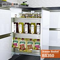 Kitchen Basket OEM Guangzhou Factory Spice Basket Pull Out Storage Drawer Spice Bottle Rack Kitchen Cabinet Sliding Basket BS350