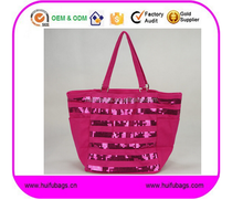 Sequin Pink Tote Bag lady Fashion canvas fabric sequin handbag