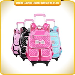 factory designed cute PU kids luggage with double wheels trolley kids backpack