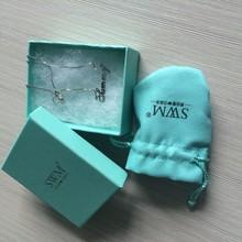 2015 Top Design Beautiful Light Blue Necklace Paper Box ,Velvet Pouch Bag,Paper Bag For Set