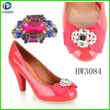 HW3084 Lady Fashion High Heel Clear Pink Crystal Rhinestone Shoes T Chains