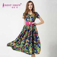 Wholesale 2015 Latest Style Short Sleeve Flower Print Summer Plus Size Women Long Maxi Dress With Elastic Waist Pink Belt 1580