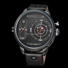 HOT!!! High Quality Stock Men Watch Leather Thin Black
