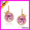 BIJOUTERIE CHINA WEDDING JEWELRY HANDMADE AUSTRIAN PINK CRYSTAL EARRINGS